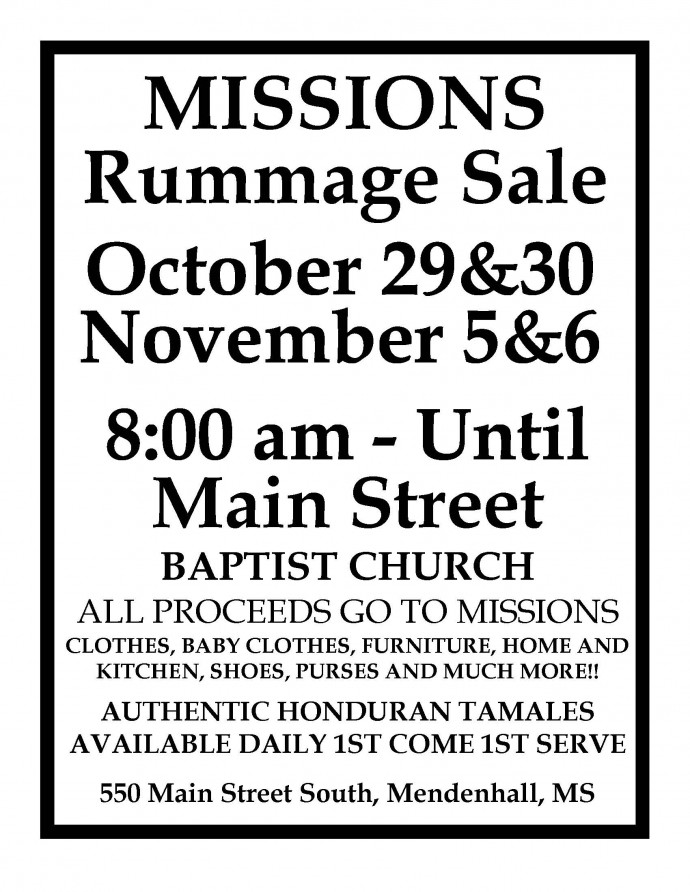 Missions Rummage Sale 2021