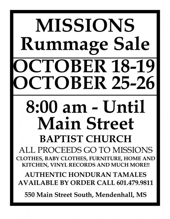 Main Street Baptist Missions Rummage Sale